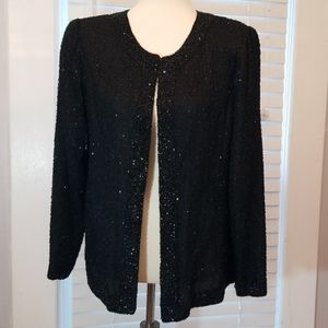 Laurence Kazar Vintage Beaded Silk Jacket, Size L